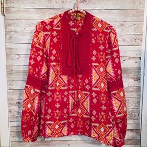 Tory Burch size 10 long sleeve blouse